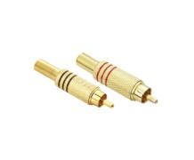 Plug  RCA 6mm Metal Dourado – Preto